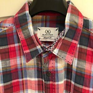 NWOT Bugatchi Plaid Shirt W/Contrast Flip-Up Cuffs